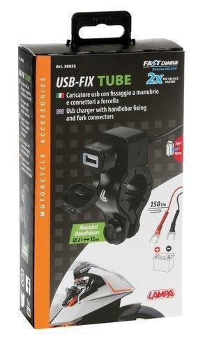LAMPA 38832 Ładowarka USB 1224V z mocowaniem na kierownicy i na widelcu motocykla